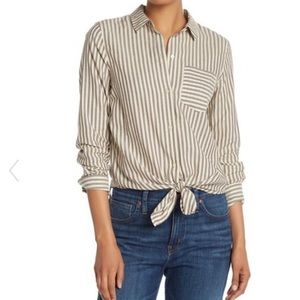 Madewell Striped Tie Front Top